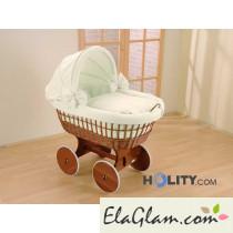 Culletta per neonati in vimini con cappottina h16639