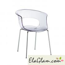 Sedia con scocca in policarbonato e struttura in acciaio h74100 trasparente