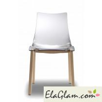 Sedia con telaio in faggio e scocca in policarbonato h7491 scocca trasparente