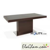 Tavolo rettangolare allungabile in legno con colonna h13011