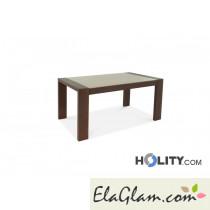 Tavolo rettangolare allungabile in legno con piano in vetro h13020