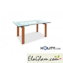 Tavolo rettangolare allungabile in metallo con piano in vetro h13018