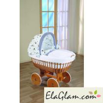 Culla neonato in vimini con ruote e cappottina h16651